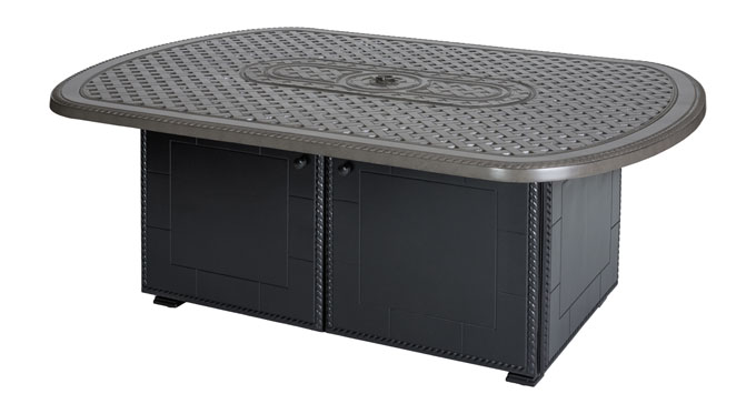 """Grand Terrace 52""""X 72"""" Oval Gas Fire Pit with Paradise Base"""