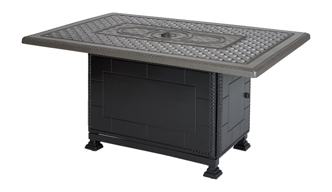 """Grand Terrace 38""""X 56"""" Rectangular Gas Fire Pit with Paradise Base"""
