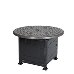 "Grand Terrace 42"" Round Gas Fire Pit with Paradise Base"