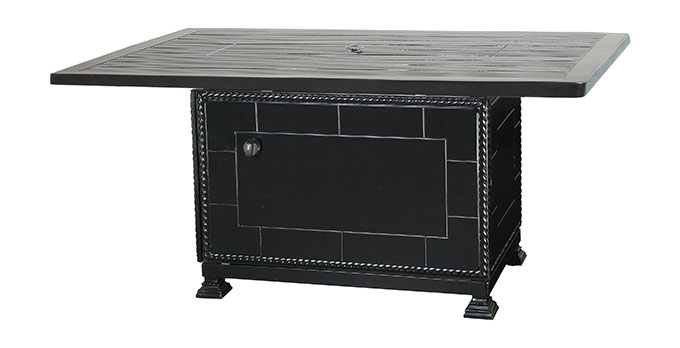 """Channel 40""""x 56"""" Rectangular Gas Fire Pit with Paradise Base"""