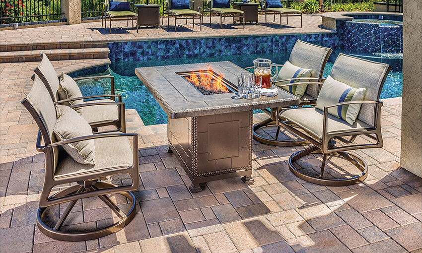 Collections Paradise Gas Fire Pits, Garden Furniture With Fire Pit Table